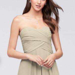 David's Bridal W10840 Champagne Bridesmaid Dress